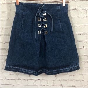 Sandro Paris Denim Lace Up Skirt